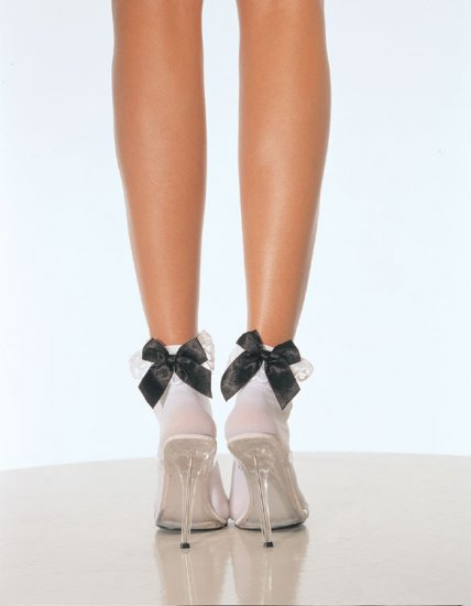 Black Stocking with Silver Satin Bow Tie & Lace Ruffle