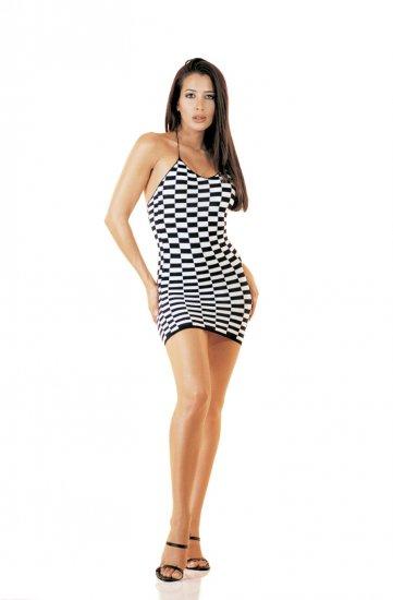 Checkerboard Pattern Halter Mini-Dress