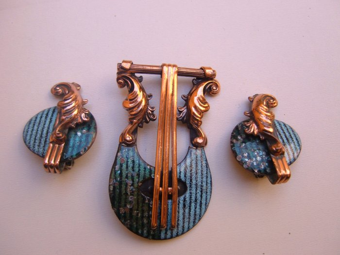 Lyre Matisse Renoir Copper Enamel Brooch Earrings Set