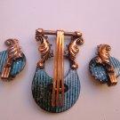 Lyre Matisse Renoir Copper Enamel Brooch Earrings Set