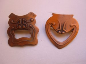 Vintage Rebajes Copper Drama Masks Brooch Pin