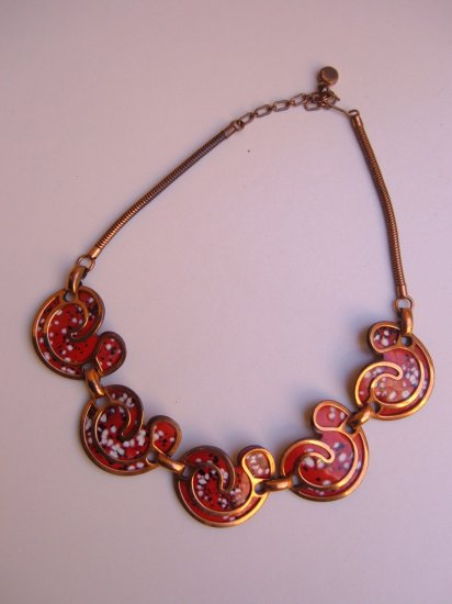 REBAJES copper ENAMEL Necklace MOD red VINTAGE retro