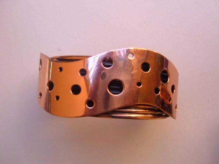 Swiss CHEESE Vintage COpper Cuff Bracelet Mod