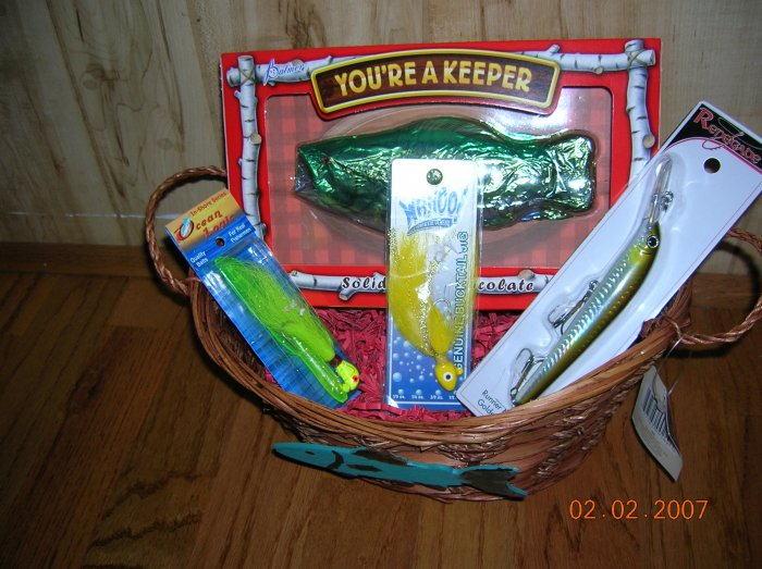 You're a Keeper, Valentine's Day Fishing Gift Basket, Wicker