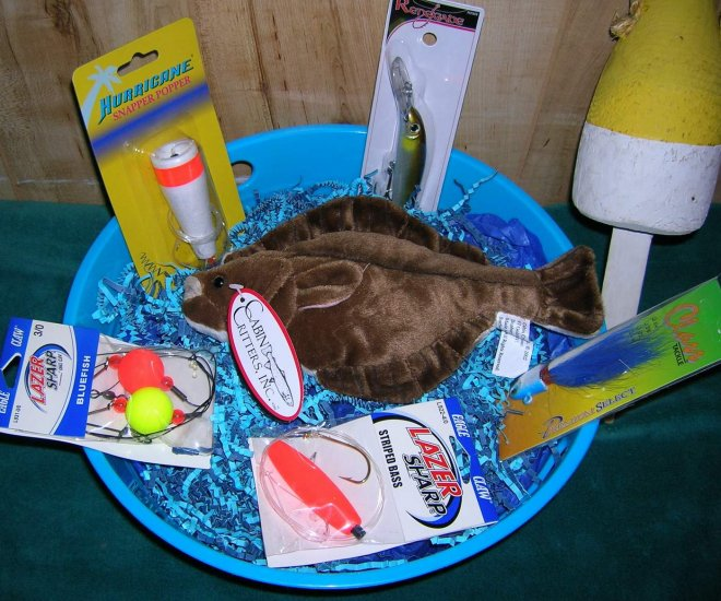Saltwater Tub of Tackle Fishing Gift Basket-Flounder