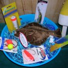 Saltwater Tub of Tackle Fishing Gift Basket-Flounder