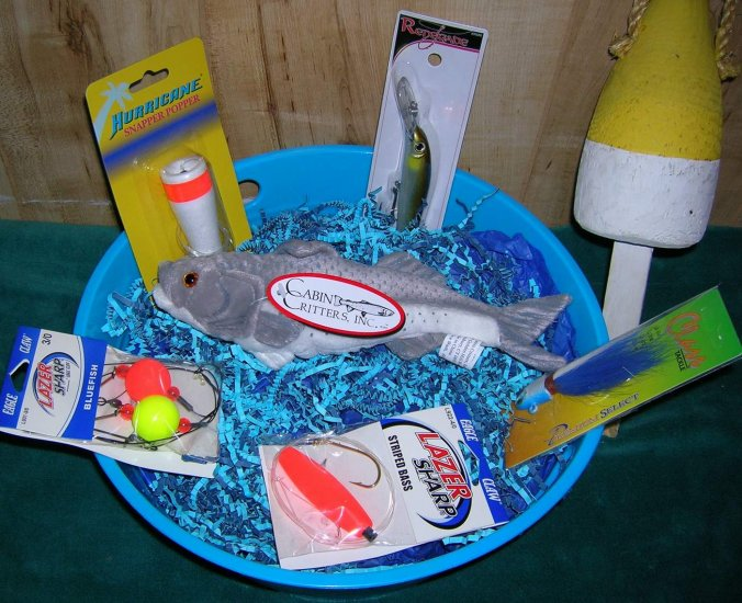 Saltwater Tub of Tackle Fishing Gift Basket-Striped Bass