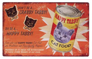 HAPPY TABBY CAT FOOD TIN SIGN PIC METAL KITTY SIGNS C
