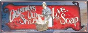 GRANDMA'S OLD STYLE LYE TIN SIGN RETRO HOME SIGNS L