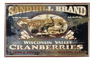 WISCONSIN VALLEY CRANBERRIES TIN SIGN  RETRO FOOD SIGNS