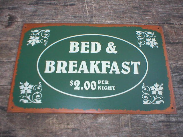 VINTAGE STYLE BED BREAKFAST TIN SIGN METAL RETRO SIGNS