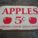 VINTAGE STYLE  APPLES 5 CENT TIN SIGN METAL RETRO SIGNS