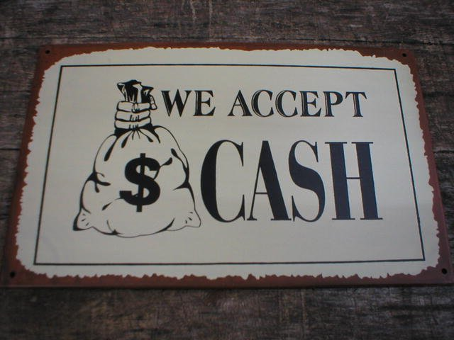 VINTAGE STYLE WE ACCEPT CASH TIN SIGN METAL RETRO SIGNS
