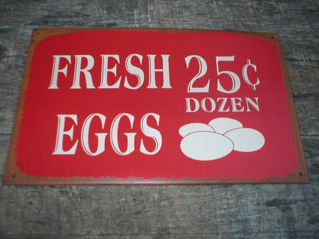 VINTAGE STYLE FRESH EGGS TIN SIGN METAL RETRO AD SIGNS
