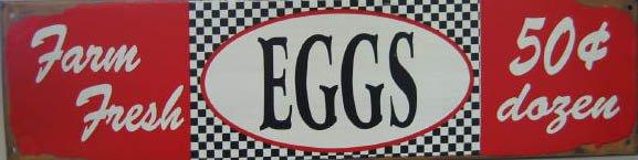 FARM FRESH EGGS RETRO TIN SIGN PIC METAL HOME AD SIGNS
