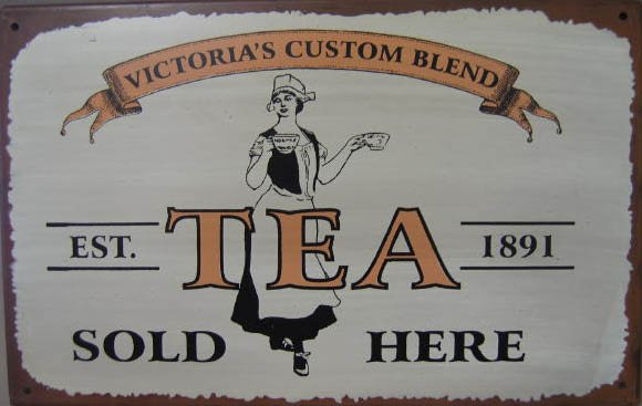 TEA SOLD HERE RETRO TIN SIGN PIC METAL HOME AD SIGNS T