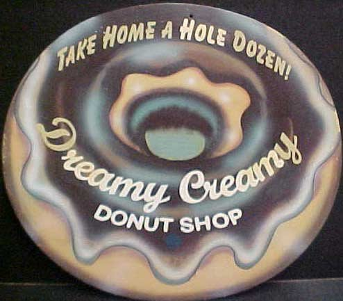 ONE DREAMY CREAMY DONUT SHOP PIC TIN SIGN METAL AD SIGNS