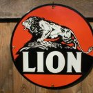 LION PORCELAIN-OVERLAY SIGN METAL GAS STATION ADV SIGNS