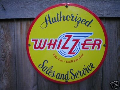 AUTHORIZED WHIZZER SALES & SERVICE SIGN BIKE ADV SIGNS