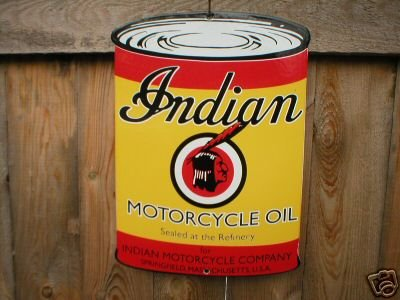 INDIAN MOTORCYCLE SIGN GAS & OIL STATION ADV