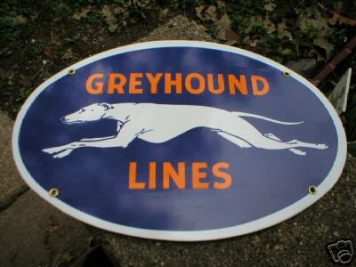 GREYHOUND LINES PORCELAIN-OVERLAY SIGN METAL SIGNS G