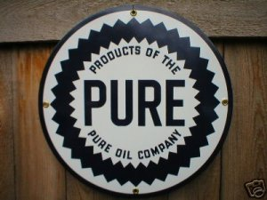 Metal Gas And Oil Signs http://www.ecrater.com/p/1869911/pure-oil-company-porcelain-sign