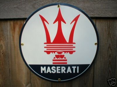 MASERATI PORCELAIN-COATED METAL SIGN
