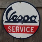 VESPA SERVICE PORCELAIN COAT SIGN METAL ADV SIGNS V