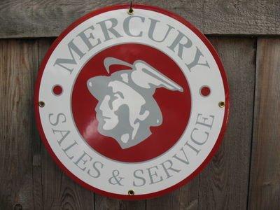 MERCURY SALES & SERVICE PORCELAIN COAT SIGN METAL SIGNS