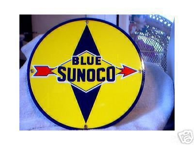 BLUE SUNOCO GASOLINE PORCELAIN SIGN GAS OIL METAL SIGNS