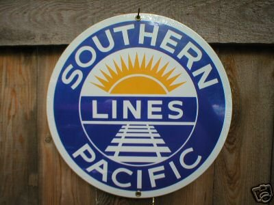 SOUTHERN PACIFIC PORCELAIN-OVERLAY SIGN METAL AD SIGNS