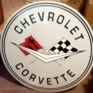 CHEVROLET CORVETTE ROUND TIN SIGN 24""