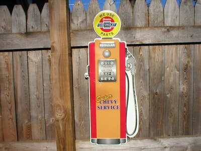 GENUINE CHEVROLET PARTS GAS PUMP DIECUT TIN SIGN F
