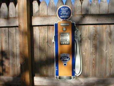 FORD SALES & SERVICE GAS PUMP DIECUT TIN SIGN F