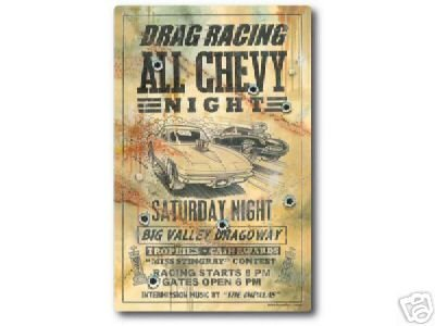 DRAG RACING ALL CHEVY NIGHT SIGN RETRO CAR AUTO SIGNS D