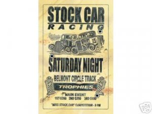 STOCK CAR RACING SATURDAY NIGHT SIGN RETRO CAR SIGNS S