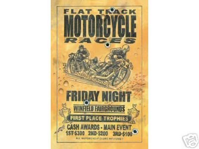 FLAT TRACK MOTORCYCLE RACES SIGN METAL ADV POSTER SIGNS