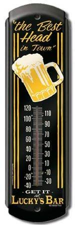 LUCKY'S BAR THERMOMETER SIGN METAL ADV SIGNS L