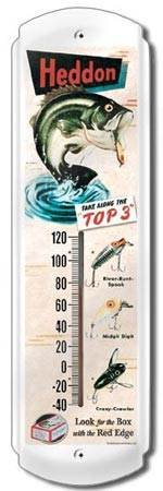 HEDDON THERMOMETER SIGN METAL ADV SIGNS H