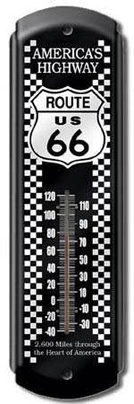 ROUTE 66 THERMOMETER SIGN METAL ADV SIGNS R