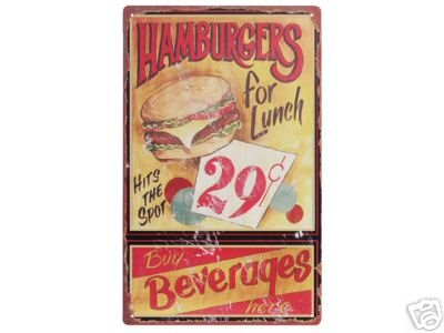 HAMBURGERS FOR LUNCH TIN SIGN DECORATIVE METAL SIGNS H