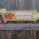 GOLD-EN GIRL COLA TIN ARROW SIGN METAL ADV SIGNS G