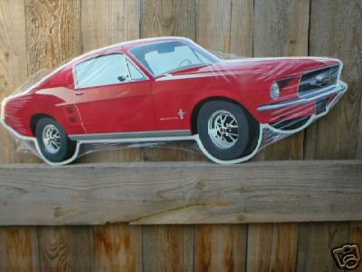 1967 FORD MUSTANG DIE CUT TIN SIGN CAR METAL ADV SIGNS