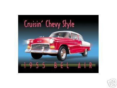 CRUISIN' CHEVY STYLE TIN SIGN RETRO CHEVROLET SIGNS C