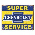 SUPER CHEVROLET SERVICE TIN SIGN METAL ADV AD SIGNS S