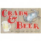 CRABS & BEER TIN SIGN PIC METAL BAR HOME CAFE SIGNS C