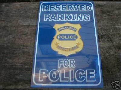 POLICE PARKING TIN SIGN COLLECTOR METAL ADV SIGNS P