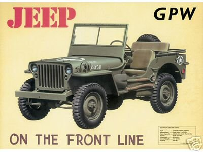 JEEP GPW TIN SIGN ADV FORD WILLYS US VEHICLE SIGNS W