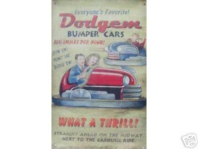 50 S DODGEMS BUMPER CARS TIN SIGN METAL RETRO SIGNS M