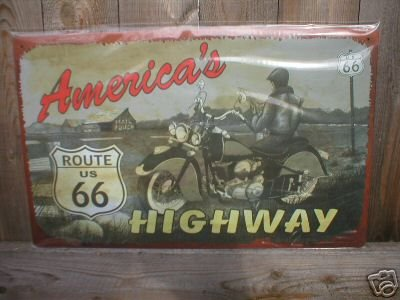 AMERICA'S HIGHWAY ROUTE 66 TIN SIGN METAL ADV SIGNS A
